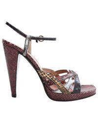 Miu Miu Metallic Burgundy Python Sandals