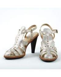 Tod's Metallic Silver Leather Sandals