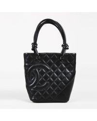 ad3252bb475 Lyst - Sac à main Cambon en cuir Chanel en coloris Noir