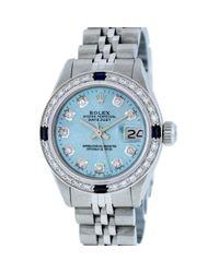 Reloj en acero azul Lady DateJust 26mm Rolex de color Blue