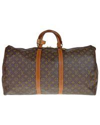 Louis Vuitton Brown Keepall Cloth 48h Bag