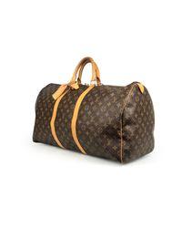 Louis Vuitton Keepall Leinen Wochenende Tasche in Brown für Herren