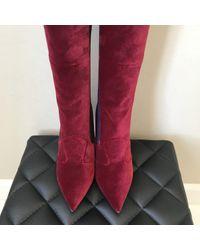 Botas en terciopelo burdeos Fendi de color Multicolor