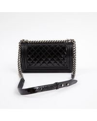 Chanel - Pre-owned Boy Black Patent Leather Handbags - Lyst