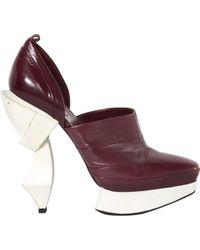 Miu Miu Purple \n Burgundy Leather Heels