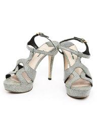 Miu Miu Gray \n Grey Leather Sandals