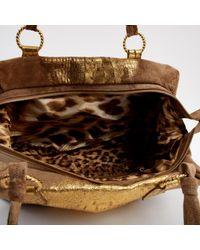 Bolsa de mano en ante beige Roberto Cavalli de color Natural