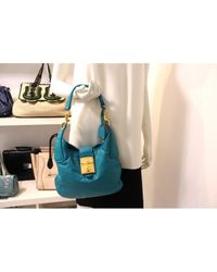 Borsa a mano in pelle turchese \N di Miu Miu in Blue