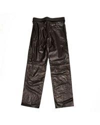 Pantalons en Cuir Noir Loewe en coloris Multicolor