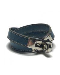 Hermès - Blue Pre-owned Kelly Double Tour Leather Bracelet - Lyst