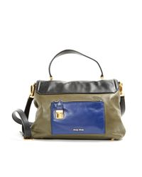 Miu Miu Multicolor \n Khaki Leather Handbag