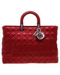 Dior Red Lady Leder Shopper