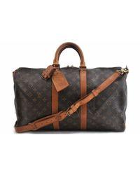 Louis Vuitton Black Keepall Leinen Reisetaschen