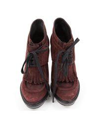 Burberry Multicolor Burgundy Suede Heels