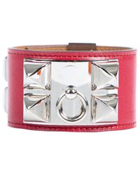 Pulsera en cuero rojo Collier de chien Hermès de color Red