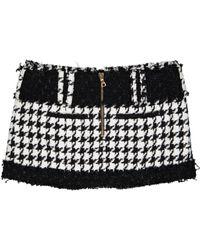 Falda en algodón multicolor Balmain de color Black
