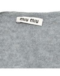 Cardigan en laine Miu Miu en coloris Gray