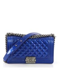 Borse a mano in LOWER()Vernice LOWER()Blu Boy di Chanel in Blue