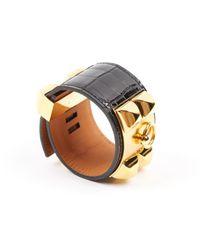 Hermès Metallic Collier De Chien Krokodil Armbänder