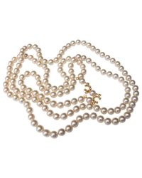 Chanel White Pre-owned Pearls Long Necklace