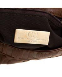 Bolsa de mano en cuero marrón Carolina Herrera de color Brown