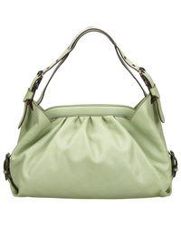 Bolsa de mano en cuero verde Fendi de color Green