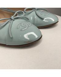 Chanel Blue Lackleder Ballerinas