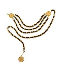 Cinturón en metal dorado Chanel de color Multicolor
