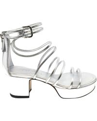 Chanel Metallic Silver Patent Leather Sandals