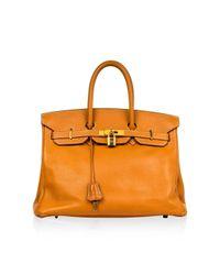 Borse a mano Birkin 35 Dorato di Hermès in Orange
