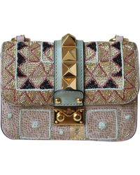 Sac à main Glam Lock à paillettes Valentino en coloris Multicolor
