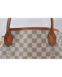 Louis Vuitton White Neverfull Leinen Shopper