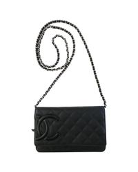 Lyst - Chanel Wallet On Chain Leather Crossbody Bag in Black c92a47844f407