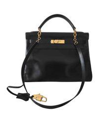 Hermès Pre-owned Vintage Kelly 32 Black Leather Handbags