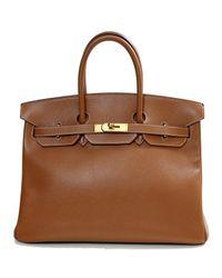 Borse a mano Birkin 35 Dorato di Hermès in Brown
