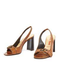 Miu Miu \n Brown Leather Sandals