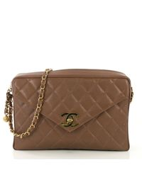 Chanel Brown Camera Leder Handtaschen
