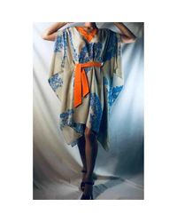 Vestido en seda Fendi de color Blue