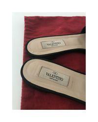 Valentino Blue Leder Pantoffeln