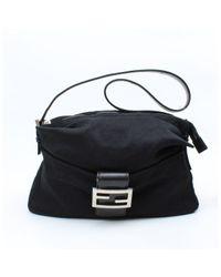 Fendi Black Mamma Baguette Leinen Handtaschen