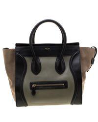 Borsa a mano in pelle multicolore Luggage di Céline in Black