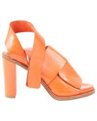 Acne Orange Patent Leather Heels