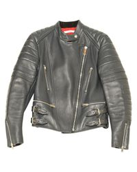 Céline - Gray Pre-owned Leather Biker Jacket for Men - Lyst