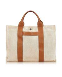 Hermès Brown Leinen Shopper