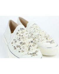 Stuart Weitzman White Leder Sneakers