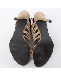Sandales en Suede Beige Balmain en coloris Multicolor