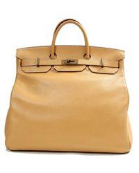 Bolsos de viaje en cuero beige Haut à Courroies Hermès de color Natural