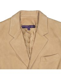 Giacca in scamosciato beige di Ralph Lauren Collection in Natural