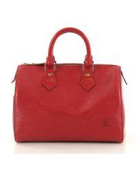 Sac à main Speedy en Toile Rouge Louis Vuitton en coloris Red