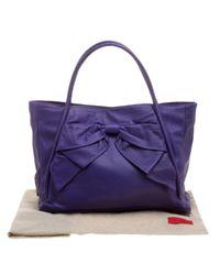 Borsa a mano in pelle viola di Valentino in Purple